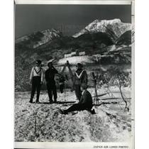 1963 Press Photo Japanese Skiers Mountain Range - RRX70767
