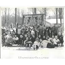 1961 Press Photo Skiing Snow Hawk Ground Break Slopes