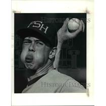 1990 Press Photo Parma Pitcher John Fortuna trying to intimidate hitters