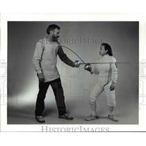 1991 Press Photo Fencer Bill Reith and I-Han Go - cvb47580