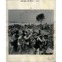 1960 Press Photo St. Tropez French Riviera Cream Fight - RRX71857
