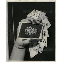 1952 Press Photo Playing Cards Games Wieboldt Stores