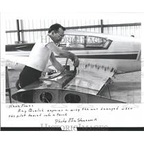 1986 Press Photo Airplane Wing Repair