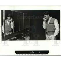 1983 Press Photo Tom Flick, Quarterback for Browns on Telephone - cvb51998
