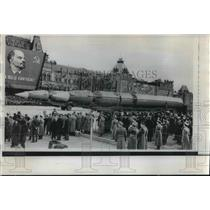 1958 Press Photo Soviet Missiles on parade in Red Square, Moscow, Russia.