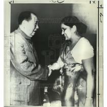 1972 Press Photo Mao Tse Tung and Simiravo Bandaranaike in China - noa25502