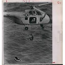 1961 Press Photo Helicopter Rescue From Waters. - hcx05182