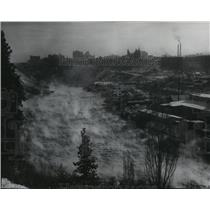 1955 Press Photo Fog rising off the Spokane River - spa97898