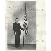 1937 Press Photo Williams B. Stearns with flag. - RRW28559