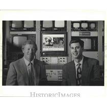 1990 Press Photo Sports Commentator Larrry Matson & Joe Amato of Saints Sideline
