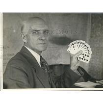 1932 Press Photo J. Fred Andress Holding Perfect Pinochle Hand - nef69856