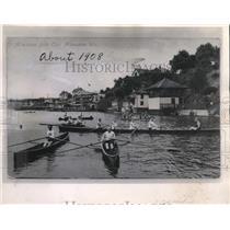 1908 Press Photo 1908 Milwaukee Rowing club on the Milwaukee river. - mjx43826