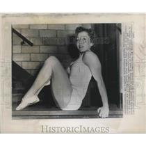 1948 Press Photo Clara Schroth tries out for U. S. Woman's Olympic Gymnastics
