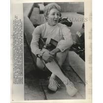1968 Press Photo Janice Romary 1st woman carrying U.S, Flag in XIX Olympics