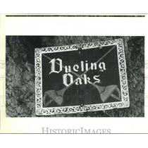 1989 Press Photo The Dueling Oaks sign on one of the trees at City Park