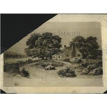 1925 Press Photo Woodcut image of Wakefield Virginia-Washington's birthplace