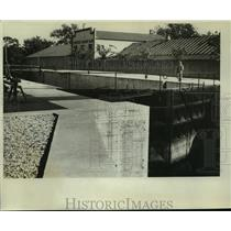 1934 Press Photo Portage lock on Wisconsin river, near Portage Curling club
