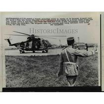 1967 Press Photo Air Force Sikorsky H-3 E helicopter lands at Le Bourget Airport