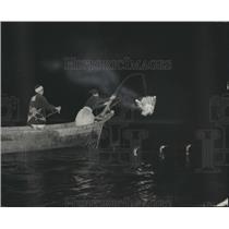 1954 Press Photo Two men Cormorant fishing on Nagara river at night, Gifu
