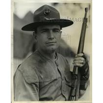 1930 Press Photo Lt.Edwin L.Hamilton winner of the Crowell Trophy for 30 Calibre