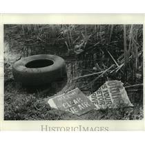 1971 Press Photo Pollution Along Northwestern Milwaukee Roadway - mjb89494