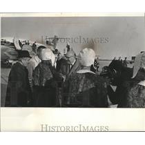 Press Photo Former Belgian Premier Paul-Henri Spaak is greeted at airport.