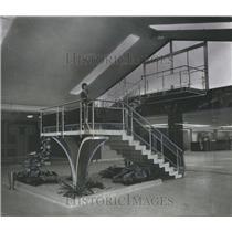 1962 Press Photo Marble Stairway to Observation Deck, Birmingham Airport