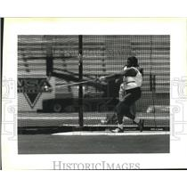 1992 Press Photo Sonja Fitts had best throw in Women's Hammer Exhibition Throw
