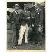 1933 Press Photo Transatlantic Flier Russell Boardman With Stanford L. Willets