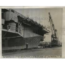 1950 Press Photo Ship Midway which carries aircrafts that prepare for departure