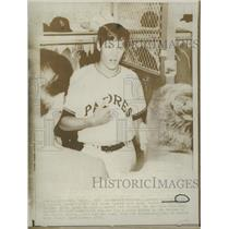 1970 Press Photo Hit Pitcher Clay Kirby San Diego Padre - RRQ27817