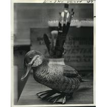 1975 Press Photo Hand-Painted Duck Decoy is a Product of Patience and Skill