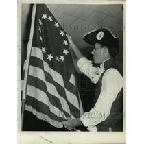 1958 Press Photo Robert Mulligan, Delmar, New York Village Fifers, with flag