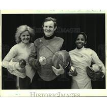1984 Press Photo Fencers Dr. Eugene Hamori and others pose Musketeer style