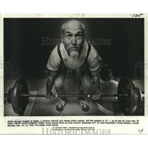 1979 Press Photo James Morgan English. lifting weights at 73 years old