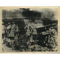1935 Press Photo Air Bombs & Heavy Shells From Machine Guns Pound Aduwa Portion