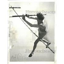 1937 Press Photo Richard Ganslen of Columbia going over the bar at 13 feet, 3 in