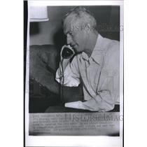 1955 Press Photo Bill Rigney New Giants Manager Phone - RRQ35689