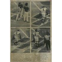 1974 Press Photo Ground Keepers Arlington Stadium Texas Rangers Mark Boxes