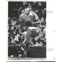 1984 Press Photo John Denny, in a pitcher pose, Wrigley - RRQ40239