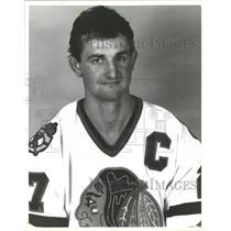 1987 Press Photo Darryl Sutter Chicago Blackhawk hockey - RRQ55515