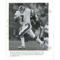 1987 Press Photo Denver Broncos John Elway Raiders - RRQ63455