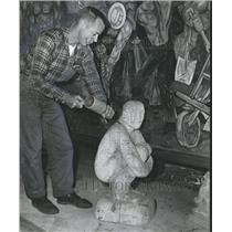 1961 Press Photo Larry Godwin, Sculpture, Brundidge Artist, Alabama - abno04086