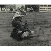 1962 Press Photo Cowboy Larry Davis Ropes Calf at Rodeo in Wisconsin - mjc06836