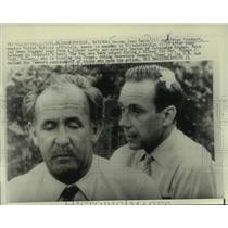 1961 Press Photo George Ivan Smith, Brian Urquhart, at news conference, Katanga