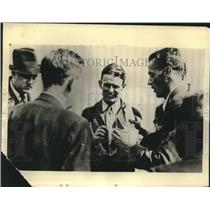 Press Photo Douglas Corrigan Talks to Newsmen About Wrong Direction Flight