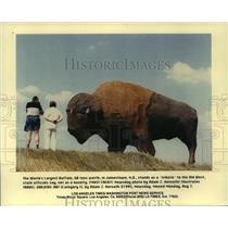 1996 Press Photo The world's largest buffalo in Jamestown, North Dakota