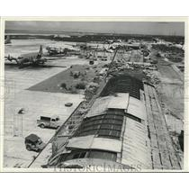 1952 Press Photo Damage caused on flight line by Wake Island typhoon