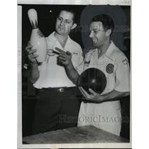 "1950 Press Photo Basil ""Buzz"" Fazio, pocket hitting Detroit bowler and companion"