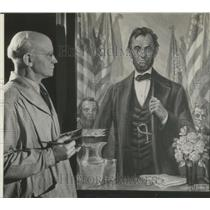 1941 Press Photo Albert O. Tiemann Paints Portrait of Abraham Lincoln